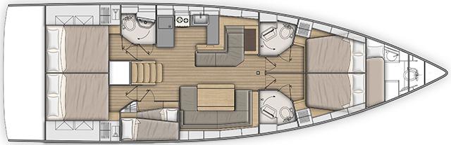 Sezione barca a vela Beneteau Oceanis 51.1, flotta Veliana Charter